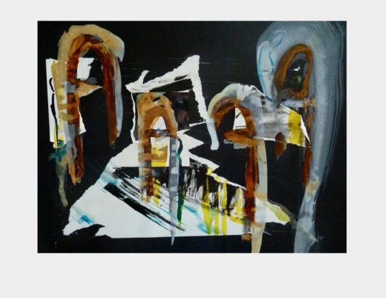 Marion Schulz-Staufenbiel, Serie Lohberg: Ruhrgebietskathedraleneinblick, Mixed Collage (Papier, Aquarell, Tusche, Rost auf Karton), 50 x 70 cm