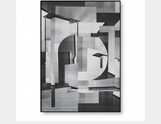 Almut Hilf, Denken im Bestand IV, berührt, geführt, Papiercollage, Inkjekt kaschiert, 63 x 45 cm
