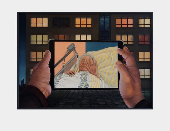Tobias Nerger, Social Distancing oder Abschied unter anderen Umständen, Öl / Lw., 100 x 140 cm