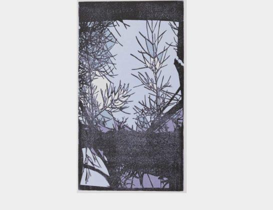 """Maria Höveler, """"Sometimes Blue"""", Mehrfarbenlinoldruck von der verlorenen Form, 51 x 36 cm"""