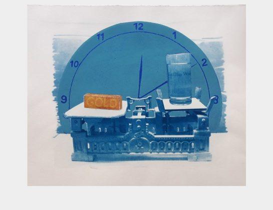 Usch Quednau, Zeitfenster, Cyanotypie gepaart mit Hochruck, 40 x 50 cm