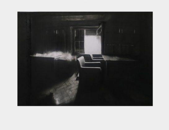 """Nominiert: Theora Krummel, """"verbrannt"""", Kohle, 70 x 100 cm"""