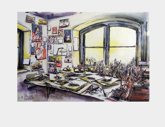 Gesine Kikol, Atelier-Ecke, Acryl / Lw., 100 x 140 cm