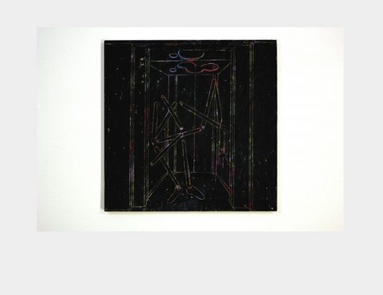 Bretz / Holliger, 50 Teile einer unsichtbaren Stadt / der trojanische Raum , Ölkreide / Papier u. Holz , 35 x 35 cm