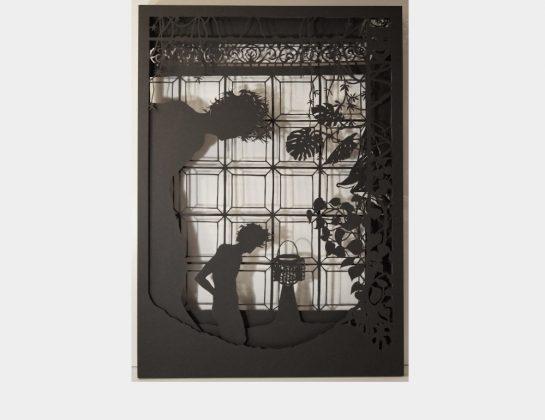 Carolin Martin, Dahome, Scherenschnitt aus schwarzem Fotokarton, 70 x 50 x 3 cm