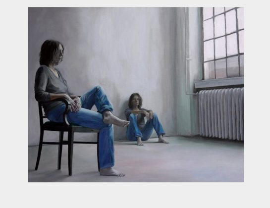 Anja Hantelmann, Am Fenster 05, Eitempera / Nessel, 95 x 105 cm