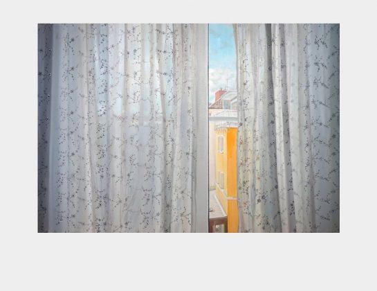 Myung Jin Kim, Windowview with floating flowers, Öl / Lw., 70 x 100 cm