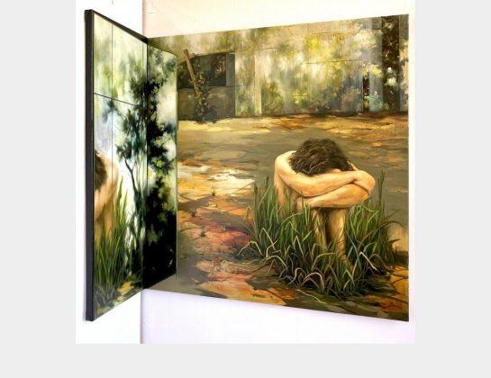 Bae Yeonhwa, Ich in diesem Raum, Öl / Lw., 120 x 120 / 120 x 40 cm