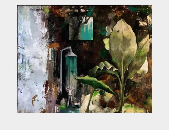 Stefan Becker, Toxic Shower, Öl / Lw., 80 x 100 cm