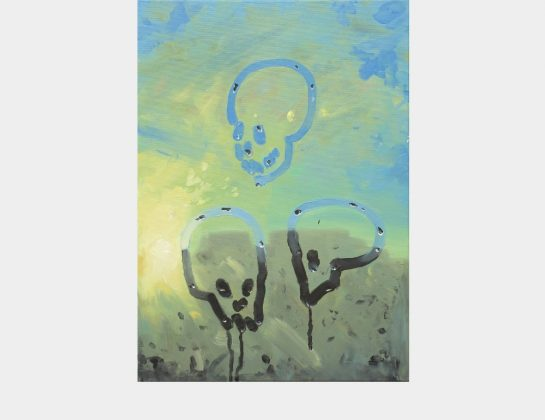 Markus Willeke, Fenster / Skull, Ölfarbe, Kunstharzlack / Lw., 70 x 50 cm