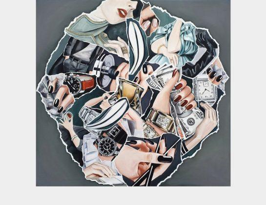 Judith Bokodi, White Supremacy (Geld-Zeit-Uhr), Öl / Lw., 110 x 115 cm