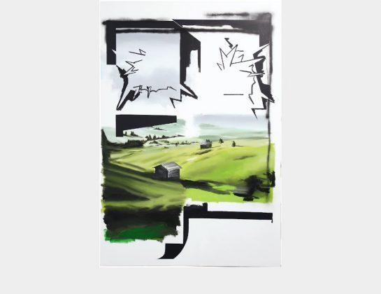 Michael Weißköppel, above us, Acryl / Lw., 180 x 120 cm