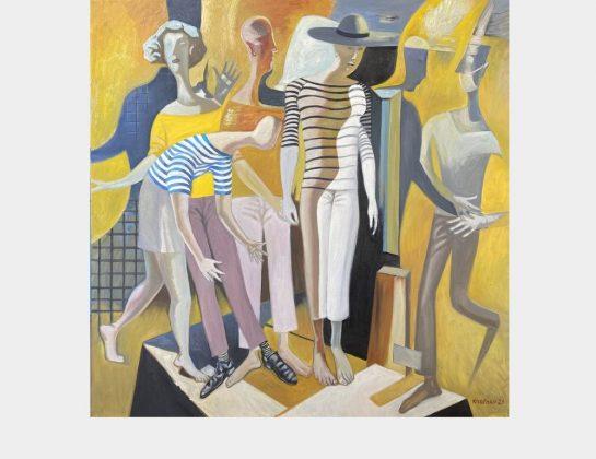 Oleg Kuzenko, Schaufenster Leben, Öl / Lw., 100 x 100 cm